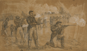 Sharps rifle - Alfred Waud painting showing men of the 1st Maine Cavalry with Sharps carbines during the battle of Middleburg. The kneeling man fires at the enemy, as the man standing behind him is feeding a new cartridge into the chamber