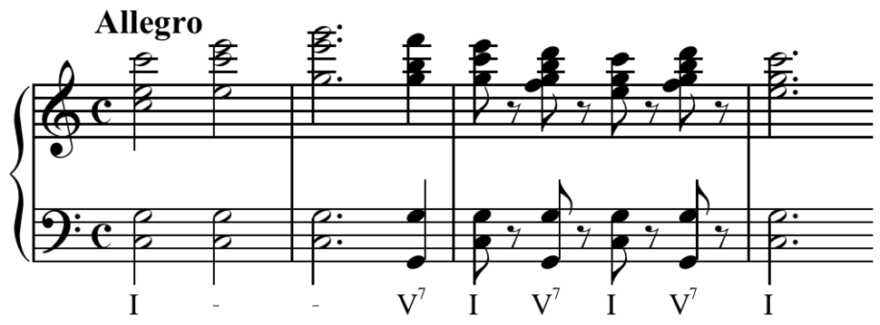 Beethoven - Fifth Symphony - Last movement, dominant seventh