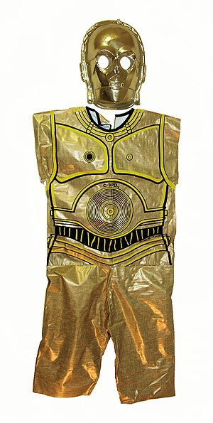 """Ben Cooper, Inc. - A Ben Cooper boxed costume and mask manufactured in 1977 depicting the character C-3PO from the """"Star Wars"""" movies."""