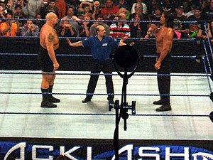 Backlash (2008) - The Big Show and The Great Khali staring at each other before their match