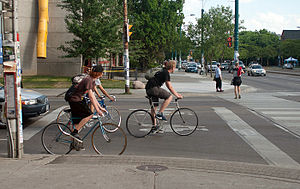 Advanced stop line - Cyclists in a bike box in Toronto