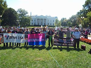 Bisexual community - Some bisexual, fluid, pansexual and queer-identified contingents display their banners at the 2009 National Equality March.