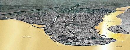 Ricostruzione ideale della città di Costantinopoli, fondata da Costantino I sull'antica Bisanzio.