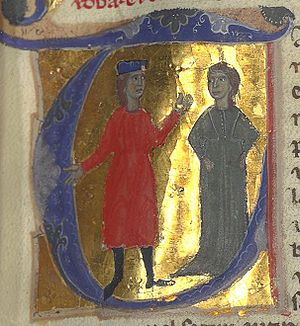 Gaucelm Faidit - Gaucelm Faidit and Guillelma Monja, from a manuscript in the Bibliothèque Nationale