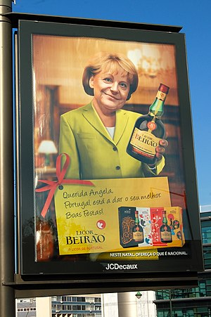 Portuguese legislative election, 2011 - Licor Beirão's advertisement featuring Angela Merkel
