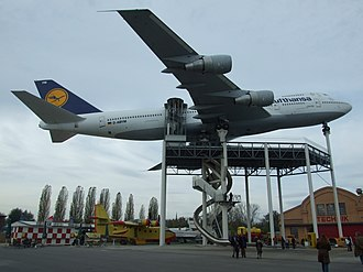 Boeing 747-230B in Lufthansa livery on display at the Technikmuseum Speyer in Germany Boeing 747-230 Schleswig-Holstein 06.JPG