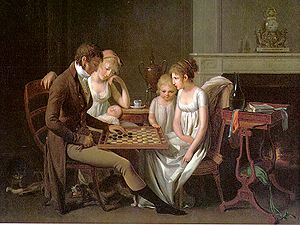 "1795–1820 in Western fashion - Painting of a family game of checkers (""jeu de dames"") by French artist Louis-Léopold Boilly, c. 1803."