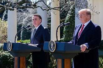 Foreign policy of the Donald Trump administration - President Trump and Brazilian President Jair Bolsonaro, March 2019