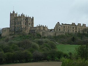 Bolsover Castle - Bolsover Castle seen from below with the Little Castle protruding above the rest of the castle