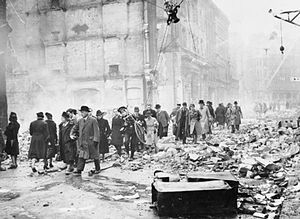War novel - Bomb damage in London, England during World War II