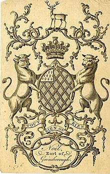Bookplate showing early coat of arms of Noel family