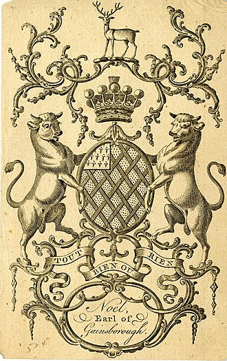 Earl of Gainsborough - Bookplate showing the Coat of Arms of the Earls of Gainsborough (1st Creation)