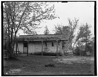 Rebecca Boone - 1907 photo of a Kentucky cabin similar to one Rebecca might have lived in with her children