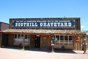 English: Entrance to Boot Hill Cemetary in Tom...
