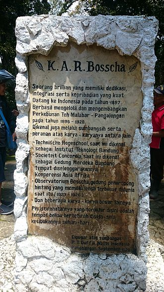 Karel Albert Rudolf Bosscha - an inscription on the monument