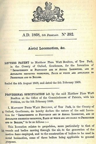Matthew Piers Watt Boulton - Image: Boulton aileron patent, No. 392, 1868 p. 01