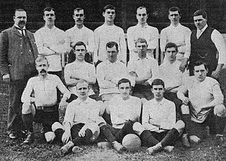 1903–04 Bradford City A.F.C. season - Bradford City's first squad. Back row: Campbell (manager), Wilson, Bright, Seymour, Halliday, Robinson, Cutts (trainer). Middle row: Guy, Millar, McMillan, Farnall, Carter, O'Rourke. Front row: Beckram, Forrest, Prosser.