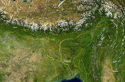 A satellite image showing the topography of Bangladesh Brahmaputra-verlaufsgebiet.jpg