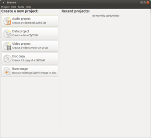 A screenshot of Brasero 3.10.0 running under Ubuntu MATE