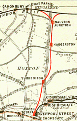 Shoreditch railway station - The Broad Street branch line in 1899