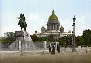 Bronze Horseman and St'Isaac's cathedral 1890-1900