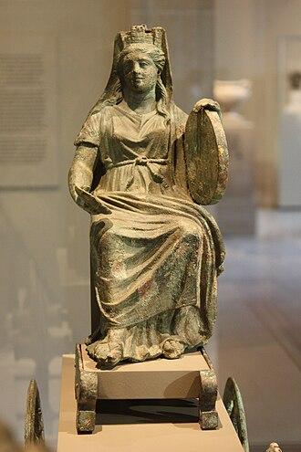 Tympanum (hand drum) - Image: Bronze statuette of Cybele