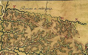 "Ignace François Broutin - The Wolf River's watershed (everything above the red dotted line), as surveyed in 1740 by Ignace Francois Broutin, chief engineer of French Louisiana. The French had named the Wolf ""Riviere a Margot"""