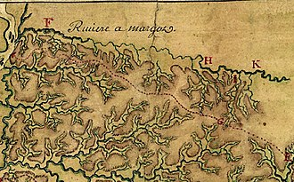 "Wolf River (Tennessee) - The Wolf River's watershed (everything above the red dotted line), as surveyed in 1740 by Ignace Francois Broutin, chief engineer of French Louisiana. The French had named the Wolf ""Riviere a Margot"""