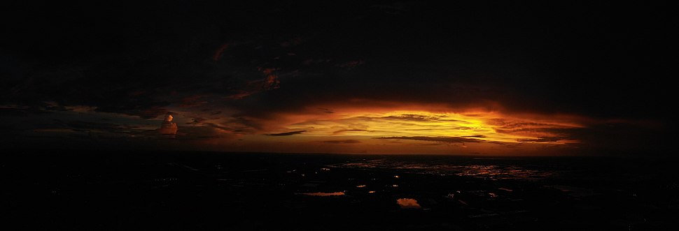 An aerial shot of the sunset looking Westward in Broward County, FL. The Everglades is shown in the background and beyond that is Collier County.