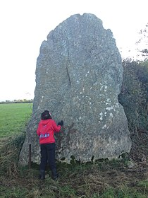 Bryn Gwyn slab stone with small adult 11102009.JPG