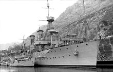 Yugoslav Navy ships captured by the Italian Regia Marina in April 1941. They are, from left, a Malinska-class mine-layer, the light cruiser Dalmacija and the submarine depot ship Hvar.