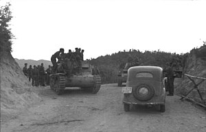 Semovente da 75/18 - Semovente da 75/18 with German troops in Albania, September 1943.