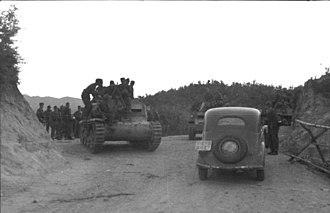 Semovente da 75/18 - Semovente da 75/18 with German troops in Albania, September 1943.