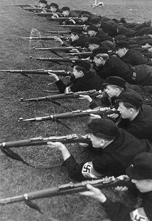 Volksgemeinschaft - Hitler Youth at rifle practice, circa 1933