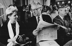 Liberal Democratic Party of Germany - Party convention in 1987, with singer Dagmar Frederic and professor Zippel of Charité
