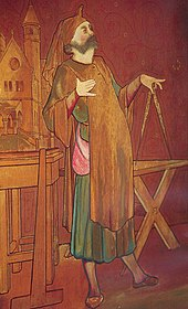 Painting of William Burges holding a measuring device