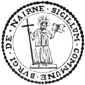 Nairn - Seal of the Burgh of Nairn, depicting Saint Ninian (from a 1906 book)