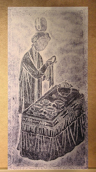 File:CMOC Treasures of Ancient China exhibit - pictorial brick depicting a woman cleaning and drying vessels, print version.jpg