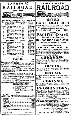Overland Route (Union Pacific Railroad) - Display ads for the CPRR and UPRR the week the rails were joined on May 10, 1869