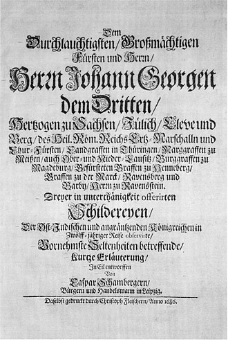 Caspar Schamberger - Titlepage of a booklet published by Caspar Schamberger dealing with people, plants, coins and other observations made during his stay in East Asia