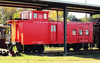 Columbus and Greenville Railway - CAGY Caboose on display in Columbus, Mississippi
