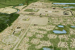 Artists conception of the Mississippian culture Cahokia Mounds Site in Illinois.