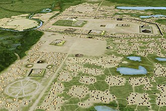 Cahokia - Cahokia's east-west baseline transects the Woodhenge, Monk's Mound, and several other large mounds
