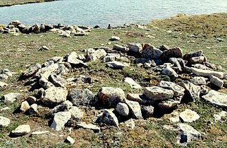 Indigenous peoples in Canada - Thule site (Copper Inuit) near the waters of Cambridge Bay (Victoria Island)