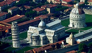 Overview of the Piazza dei Miracoli from above. The leaning tower is on the left, the Duomo is in the center and the Baptistery is on the right.