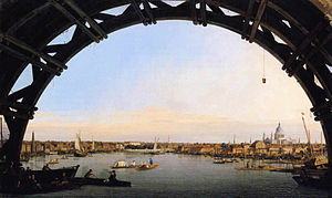 Old Walton Bridge - Image: Canaletto The City Seen Through an Arch of Westminster Bridge