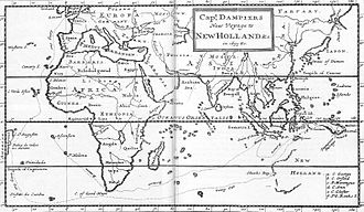 European exploration of Australia - Map of William Dampier's voyage.