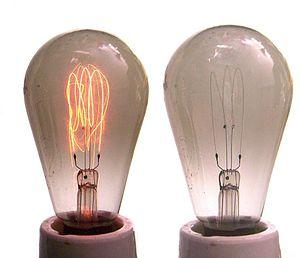 Incandescent light bulb - Carbon filament lamps, showing darkening of bulb