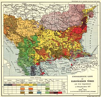 Bulgarian Turks - Ethnological Map of European Turkey and her Dependencies at the Time of the Beginning of the War of 1877, by Karl Sax, I. and R. Austro-Hungarian Consul at Adrianople. Published by the Imperial and Royal Geographical Society, Vienna 1878. Most of the Turkish families who settled in the Bulgarian territories left during population exchanges.