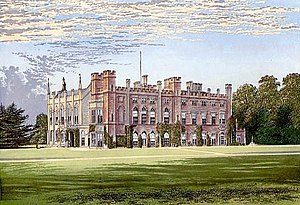 Cassiobury House - A chromolithograph of Cassiobury House, published around 1880.